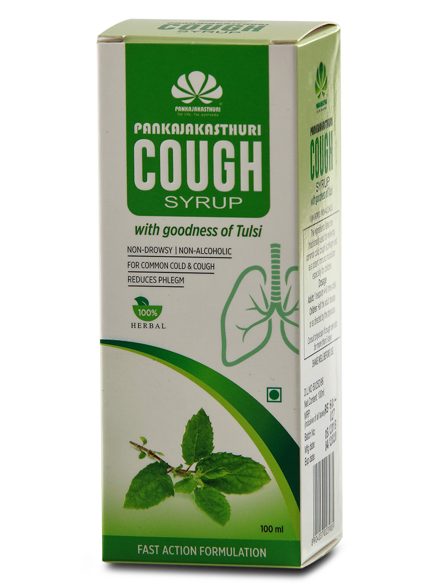 Pankajakasthuri Cough Syrup with Tulsi - Ayurvedic Medicine For Cold